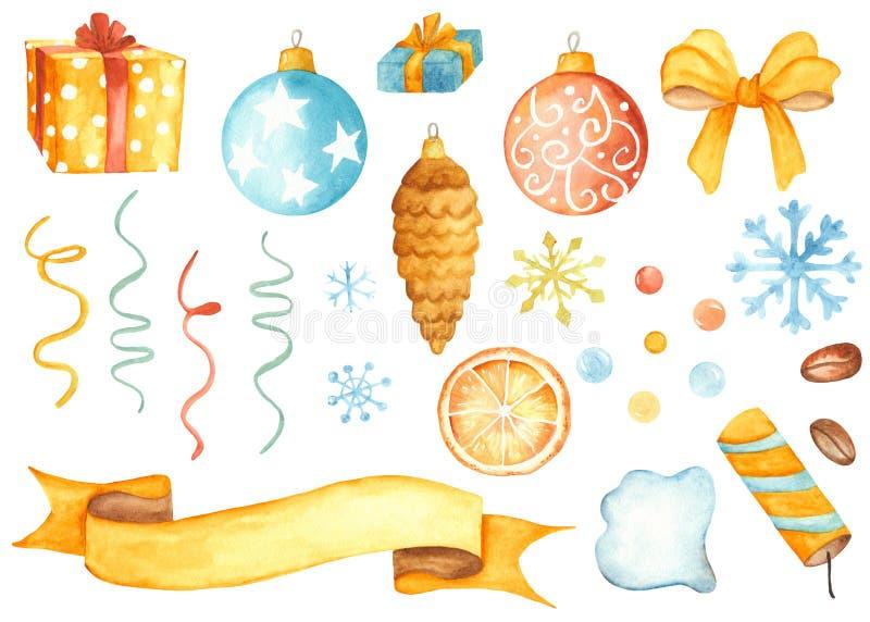 Bożenarodzeniowy ustawiający Bożenarodzeniowe zabawki, prezenty, partyjne napy, serpentyny, piłki, faborki ilustracji