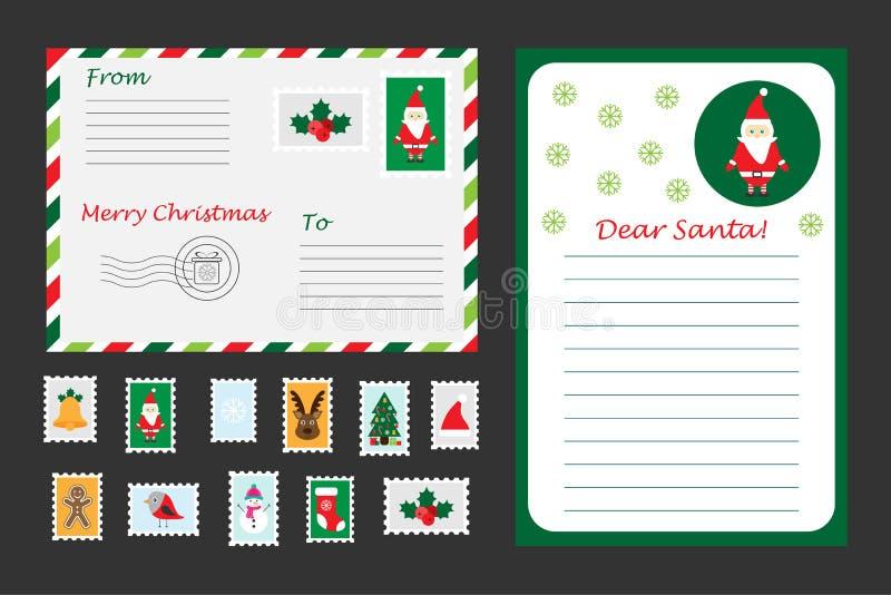 Bożenarodzeniowy ustawiający list Święty Mikołaj, koperta i znaczki pocztowi dla dzieci, zabawy preschool aktywność dla dzieciakó ilustracji