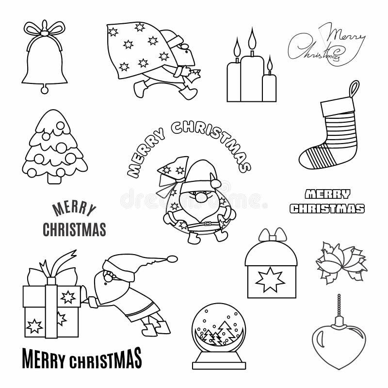 Bożenarodzeniowy ustawiający z doodle ręka rysującymi elementami Święty Mikołaj, prezenty i typograficzny, royalty ilustracja