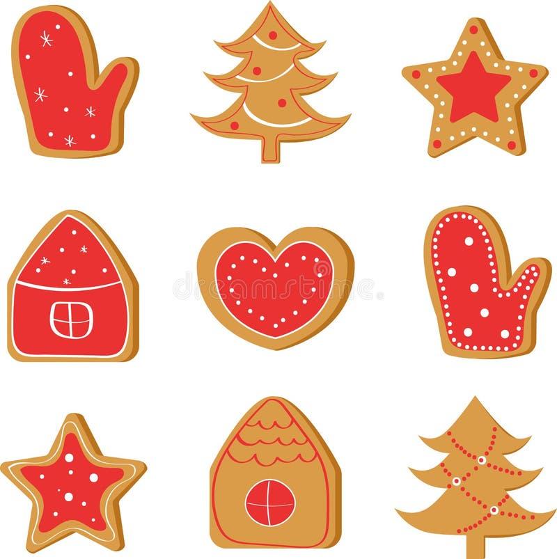 Bożenarodzeniowy ustawiający z imbirowymi ciastkami: drzewo, dom, gwiazda, serce, mitynka royalty ilustracja