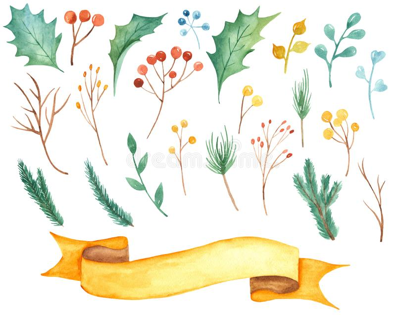 Bożenarodzeniowy ustawiający z jodły i sosny gałąź, jagody, holly, liście, gałąź, faborek royalty ilustracja