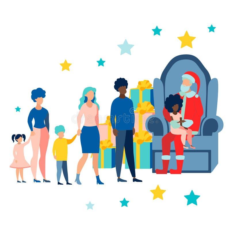 Bożenarodzeniowy wakacje, dekorujący drzewo i Święty Mikołaj z dzieciaka obsiadaniem na podołku, W minimalisty stylu Płaski isome ilustracji