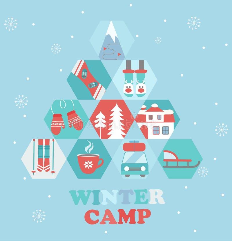 Bożenarodzeniowy wakacje i podróży o temacie Obozowy plakat ilustracja wektor