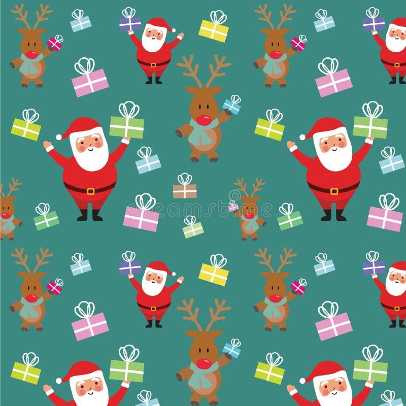 Bożenarodzeniowy wakacje wzór z Santa i renifer daje prezentom Ręki rysunkowa ilustracja royalty ilustracja