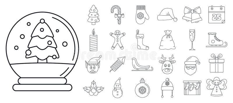 Bożenarodzeniowy wakacyjny ikona set, konturu styl ilustracja wektor