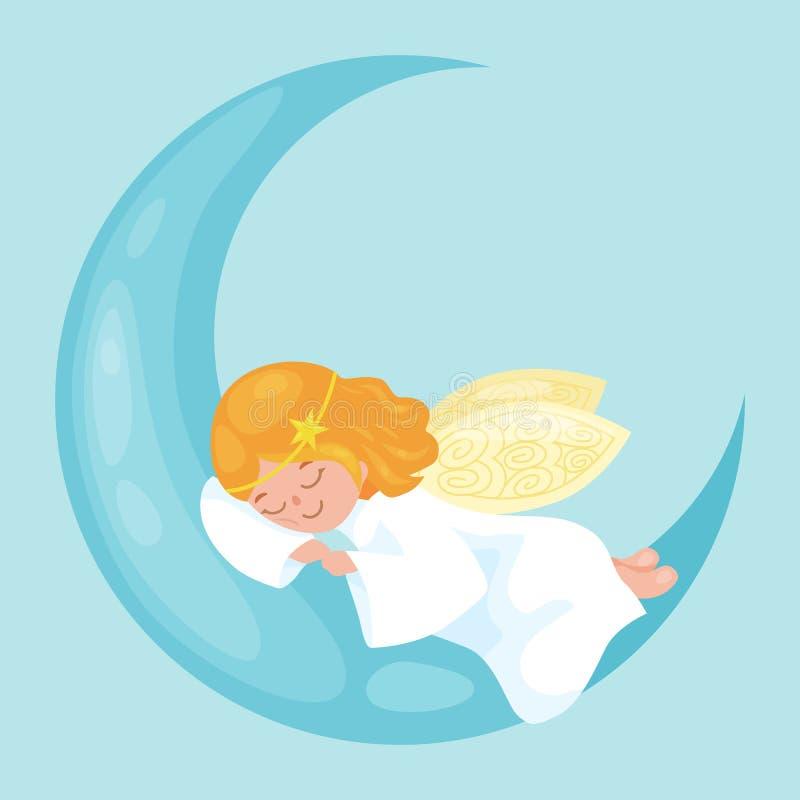 Bożenarodzeniowy wakacyjny latający anioł z skrzydłami śpi na księżyc jak symbol w Chrześcijańskim religii lub nowego roku wektor royalty ilustracja