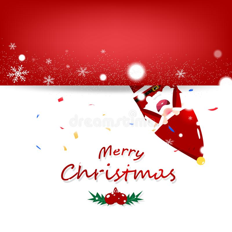 Bożenarodzeniowy wektor, Santa Claus kreskówka w zima sezonu invitatio royalty ilustracja