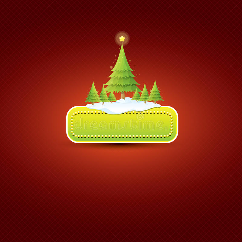 Bożenarodzeniowy wektor zieleni guzik z choinką ilustracji