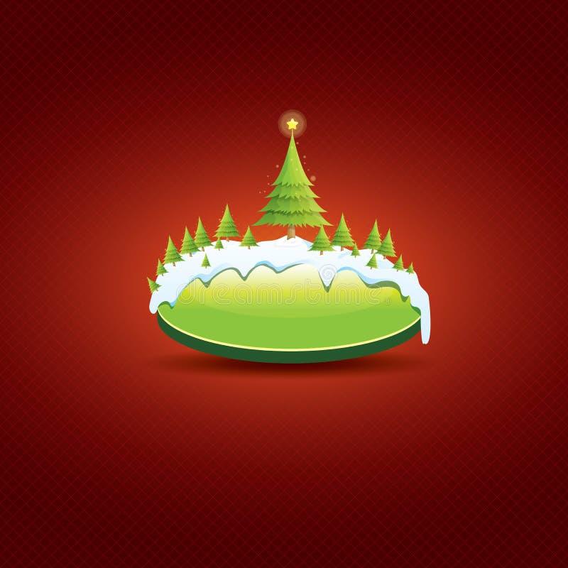Bożenarodzeniowy wektor zieleni guzik z choinką royalty ilustracja