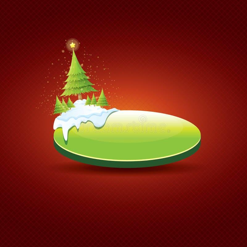 Bożenarodzeniowy wektor zieleni guzik z choinką ilustracja wektor