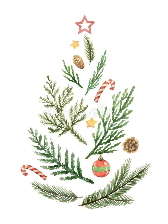 Bożenarodzeniowy wektorowy skład w postaci zielonego drzewa gałąź i zabawki ilustracja wektor