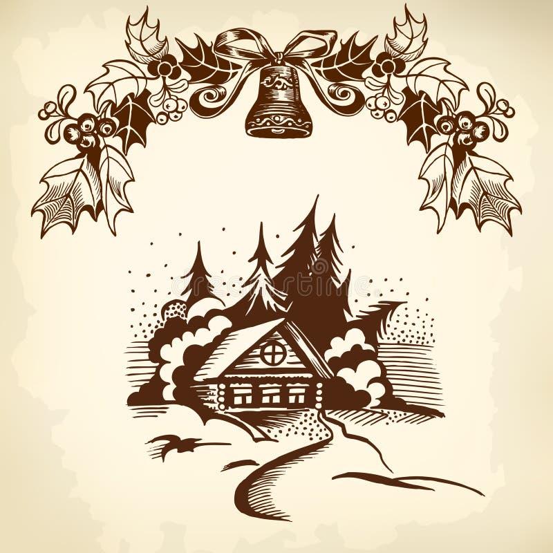 Bożenarodzeniowy wianek i dom ilustracja wektor
