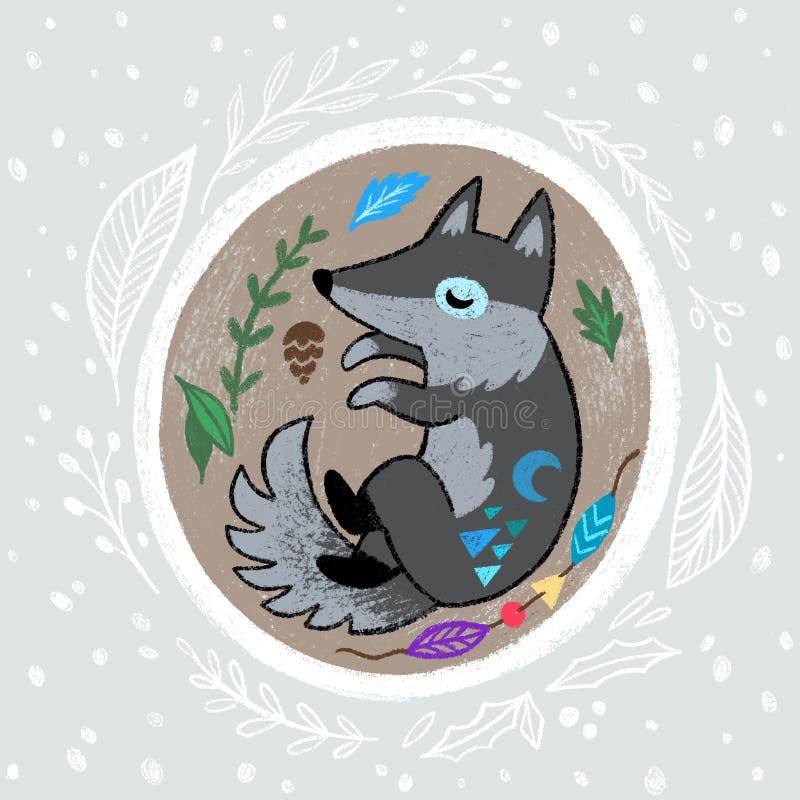 Bożenarodzeniowy wianek z slepping wilkiem R?ka rysuj?ca kresk?wki ilustracja royalty ilustracja