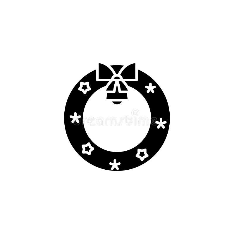 Bożenarodzeniowy wianku czerni ikony pojęcie Bożenarodzeniowego wianku płaski wektorowy symbol, znak, ilustracja royalty ilustracja