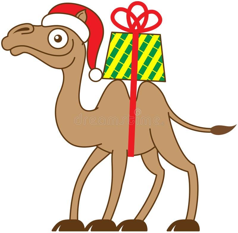 Bożenarodzeniowy wielbłąd niesie prezent na jego z powrotem ilustracji
