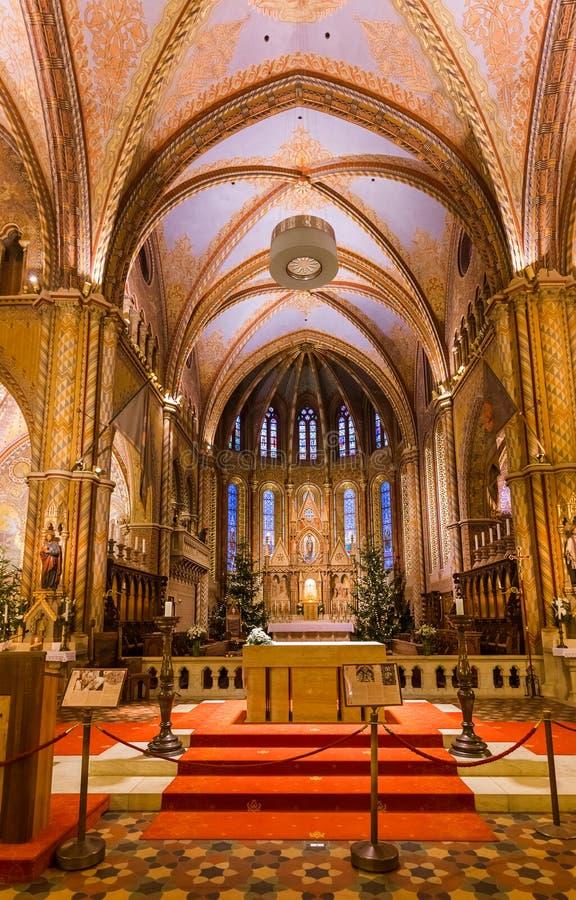 Bożenarodzeniowy wnętrze Matthias kościół w Budapest Węgry obrazy royalty free