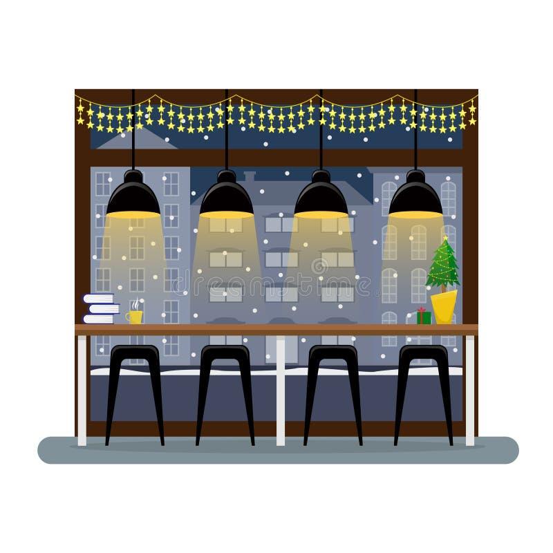 Bożenarodzeniowy wnętrze w kawiarni Prętowy kontuar przy panoramicznym okno w kawowym domu 1 lotu ptaka s royalty ilustracja
