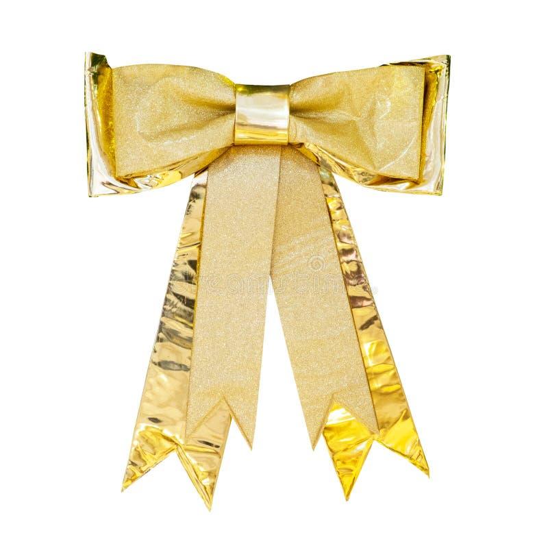 Bożenarodzeniowy złocisty tasiemkowy łęk odizolowywa na bielu obraz royalty free