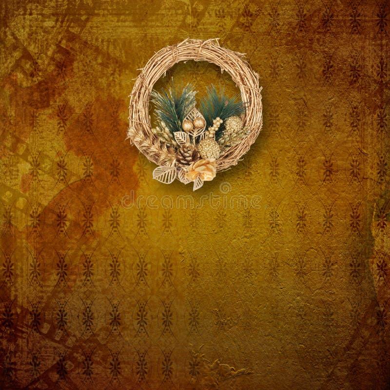 Bożenarodzeniowy złoty wianek obraz royalty free
