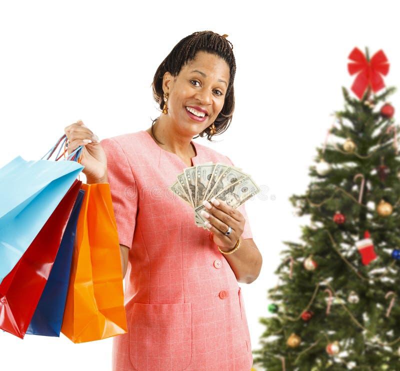 Bożenarodzeniowy zakupy - Duży nie liczący się z pieniędzmi obraz stock