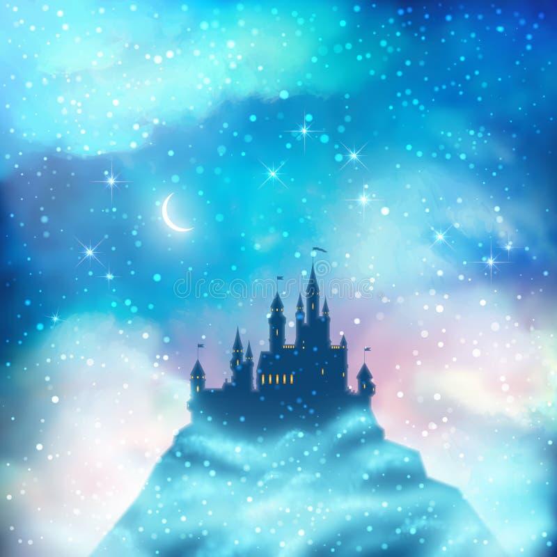 Bożenarodzeniowy zima kasztel ilustracja wektor