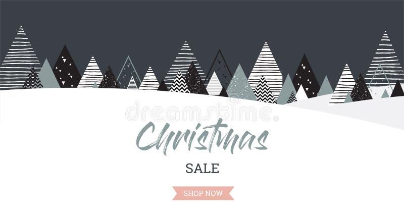 Bożenarodzeniowy zima krajobrazu tło tła bożych narodzeń dziewczyny szczęśliwy sprzedaży zakupy biel Abstrakcjonistyczny wektor ilustracji