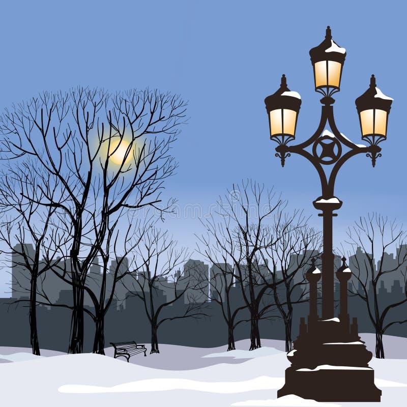 Bożenarodzeniowy zima pejzaż miejski z świecącą latarnią uliczną, śnieżny płatek ilustracji