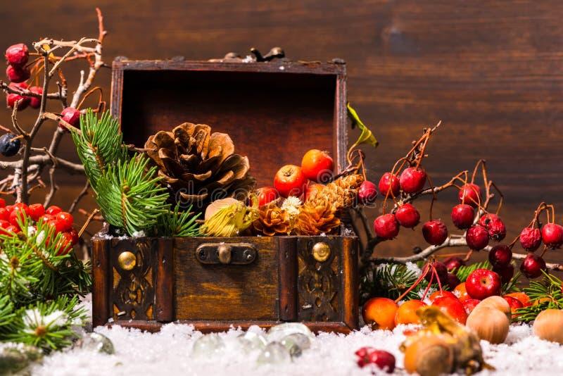 Bożenarodzeniowy zima skład z klatką piersiową, jabłko, dokrętki, rożki, ber obrazy stock