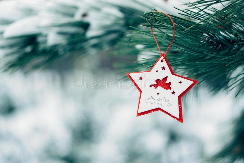 Bożenarodzeniowy zima wakacje kartka z pozdrowieniami obraz stock
