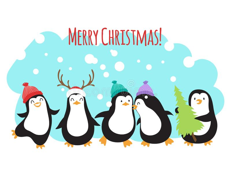 Bożenarodzeniowy zima wakacji powitania wektorowy sztandar lub tło z ślicznymi kreskówka pingwinami royalty ilustracja