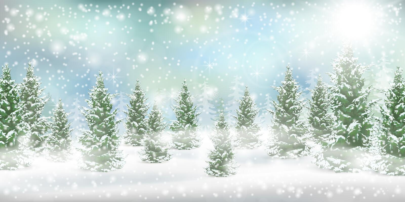 Bożenarodzeniowy zimy landscspe sosny śnieg royalty ilustracja