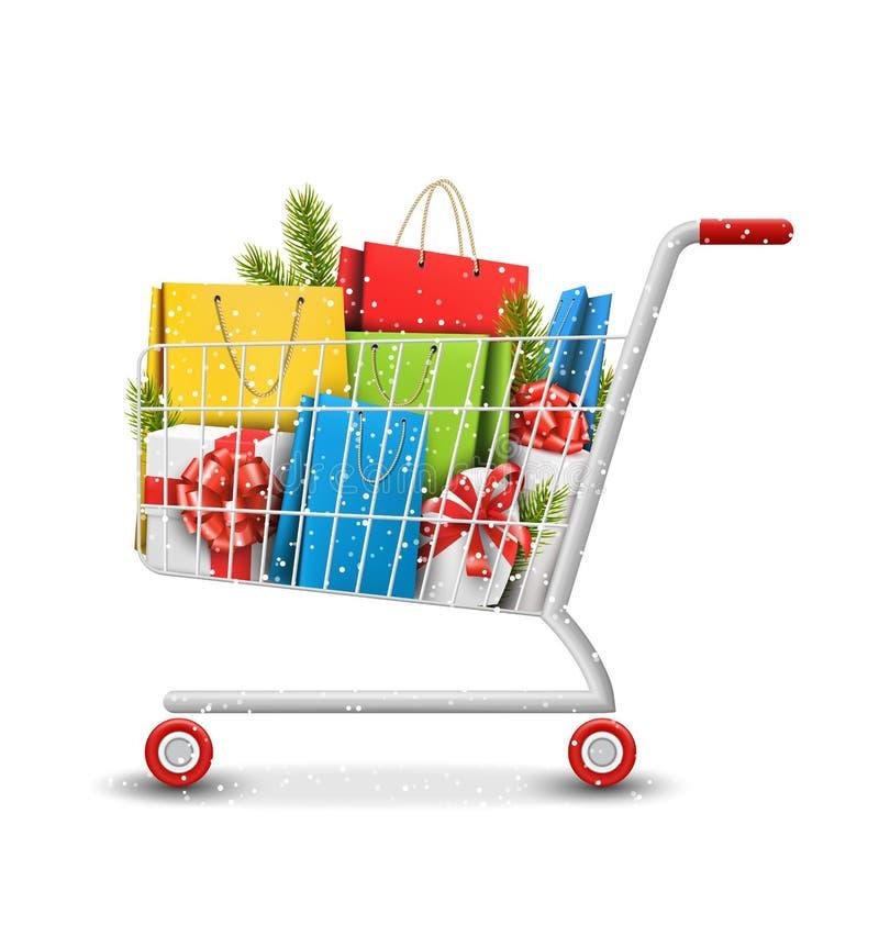 Bożenarodzeniowy zimy sprzedaży wózek na zakupy z torba prezenta szpilką i pudełkami royalty ilustracja