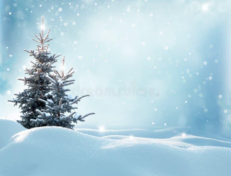 Bożenarodzeniowy zimy tło z jedlinowym drzewem fotografia royalty free