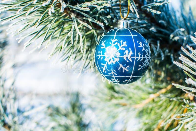 Bożenarodzeniowych dekoracj błękitna piłka przy xmas drzewem plenerowym zdjęcia royalty free