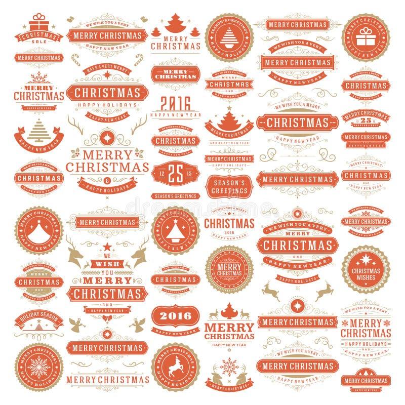 Bożenarodzeniowych dekoracj projekta Wektorowi elementy ilustracja wektor