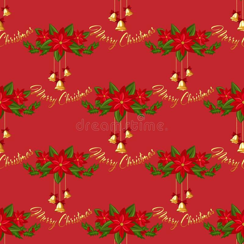 Bożenarodzeniowych dekoracji bezszwowy wzór z złocistymi dzwonów, holly i poinsecji bożymi narodzeniami, kwitnie royalty ilustracja