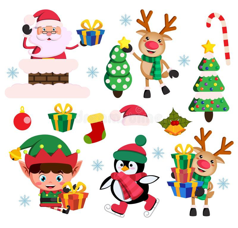 Bożenarodzeniowych elementów płaski wektorowy ustawiający z Santa Claus, elfa i renifera charakterami, ilustracji