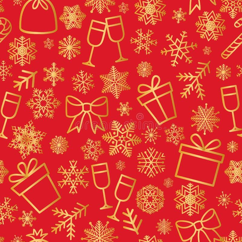 Bożenarodzeniowych ikon bezszwowy wzór, Szczęśliwy zima wakacje płytki tło Doodle konturu projekta ornamentacyjni elementy ilustracja wektor