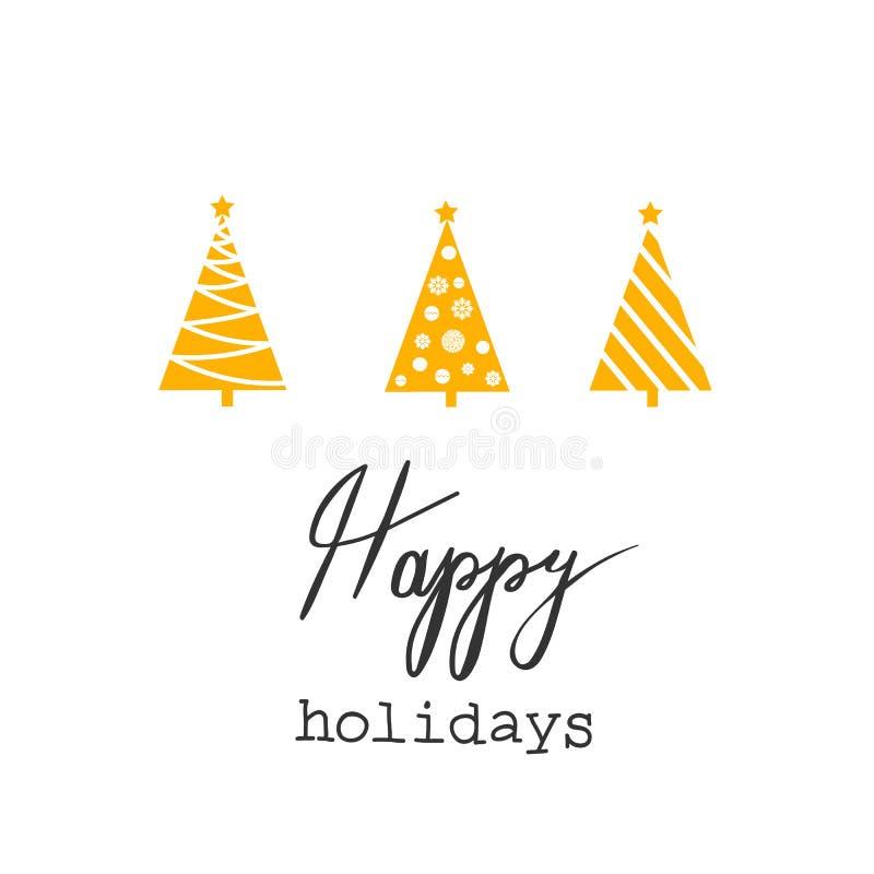 Bożenarodzeniowych kartka z pozdrowieniami trójboka Jedlinowych drzew Żółtych Złotych Graficznych Abstrakcjonistycznych Gwiazdowy ilustracja wektor