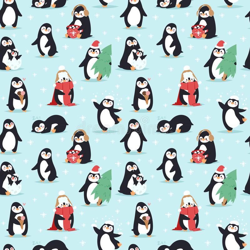 Bożenarodzeniowych pingwinów bezszwowy deseniowy wektor ilustracji