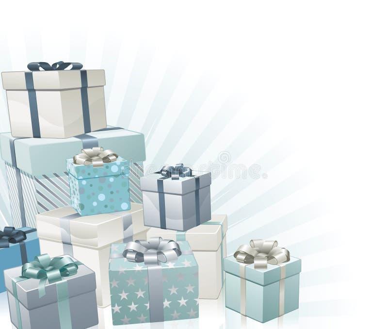 Bożenarodzeniowych prezentów narożnikowy element ilustracja wektor
