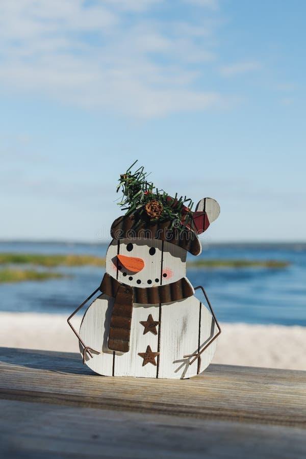 Bożonarodzeniowe łodzie snowman w parku stanowym Lake Louisa w Clermont, Floryda zdjęcie royalty free