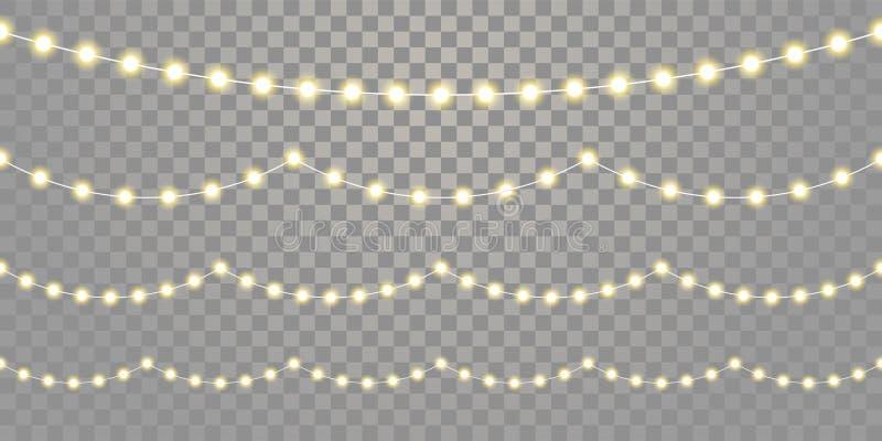 Bożonarodzeniowe światła bezszwowego wektoru odosobniony przejrzysty tło Wektoru Xmas, urodzinowa wakacyjna festiwalu świętowania royalty ilustracja