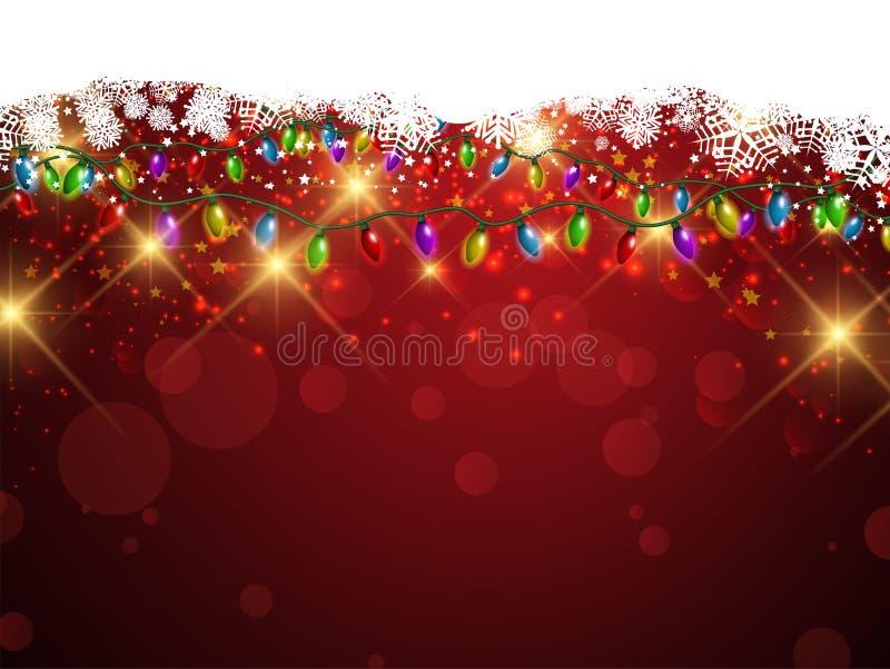 Bożonarodzeniowe światła i płatków śniegu tło ilustracja wektor