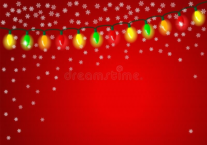 Bożonarodzeniowe światła na czerwonym tle z przestrzenią dla teksta ilustracji