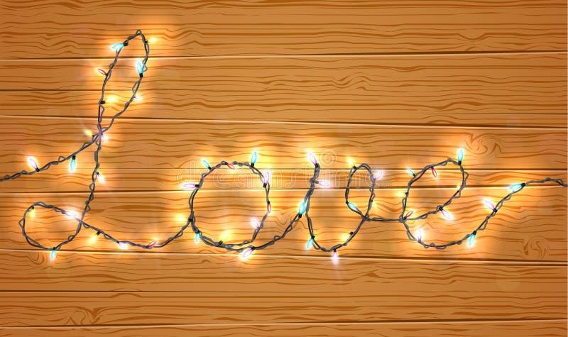 Bożonarodzeniowe światła na miłość znaku z drewnianym tłem ilustracja wektor
