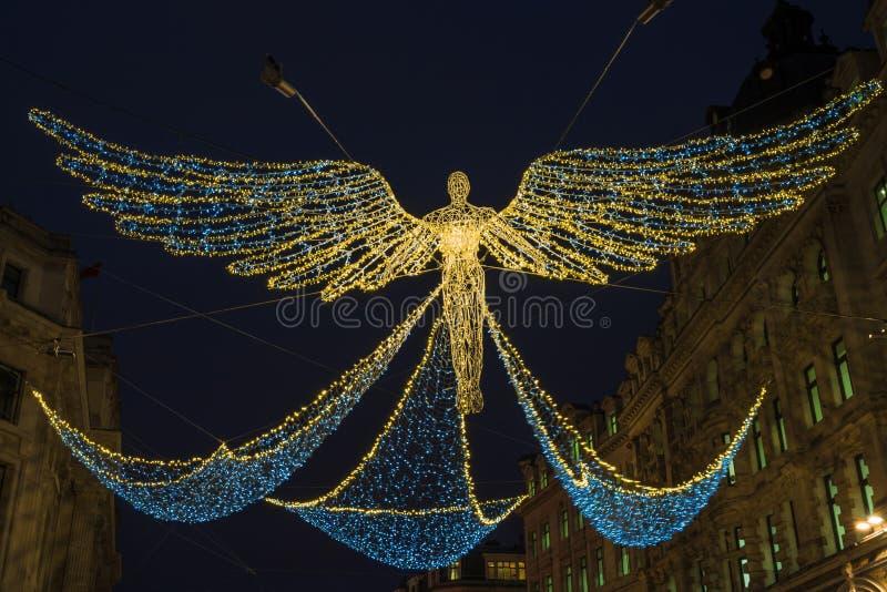 Bożonarodzeniowe światła na Regent ulicie w Londyn zdjęcia royalty free