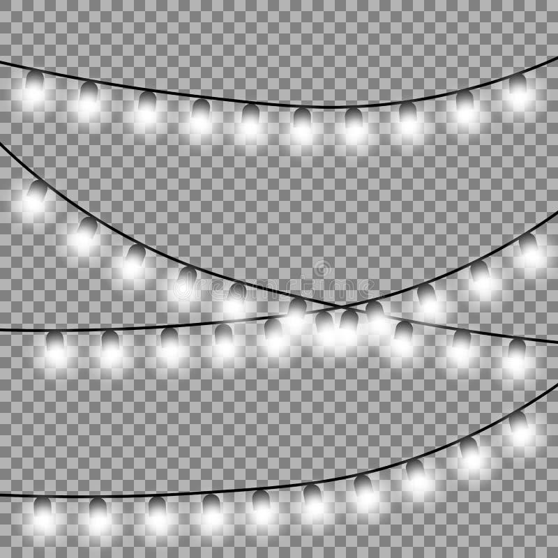 Bożonarodzeniowe światła odizolowywający projektów elementy ilustracja wektor