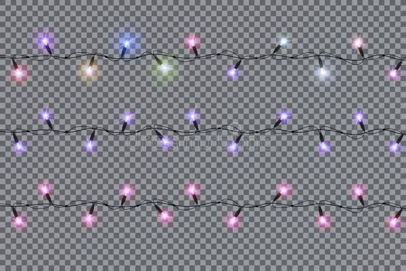 Bożonarodzeniowe światła odizolowywali realistycznych projektów elementy zdjęcie stock
