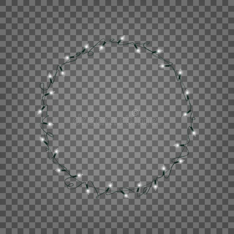 Bożonarodzeniowe Światła Odosobniony wianek realistyczny sznurek zaświeca girlandę royalty ilustracja